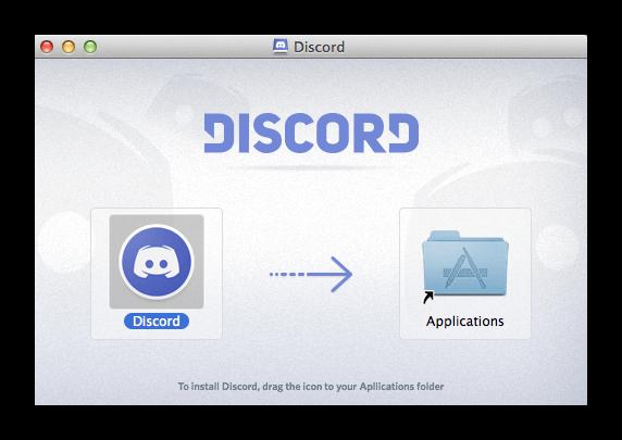 Перетаскивание программы Discord в Mac OS