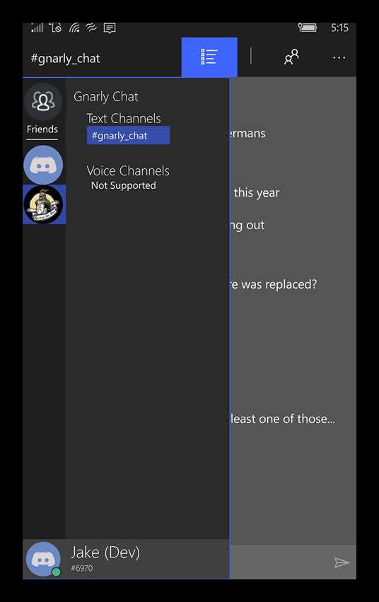 Боковая вкладка в приложении Discord для Windows Phone